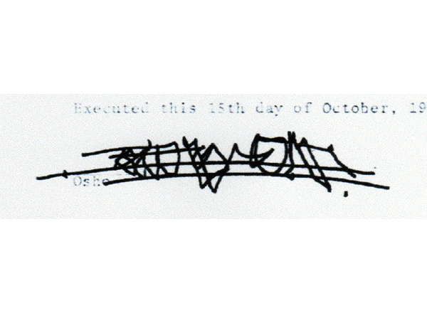 <em>Osho's Signature appeared on the Will in 1989</em>